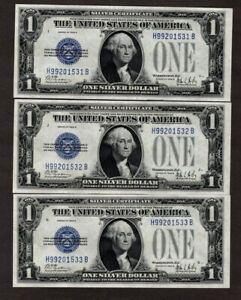 #5 Consecutive 1928 B $1 Silver Certificates, Choice/Very Choice Uncirculated!!