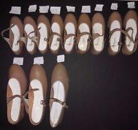 New/Box Tan Tap Shoes Girls/ ladies sizes UShells #3503 LeatherSole Tapsattachd
