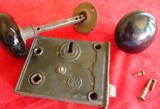 Vintage RHC Door Mortise Lock Black Ceramic Knobs - No key - As Pictured