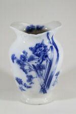 Antique Furnivals English Blue White Transferware Flowers China Porcelain Vase