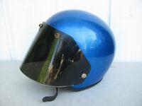 1970s GRANT BLUE METALFLAKE RG9 MOTORCYCLE HELMET XL vintage w/ POULSON SHIELD