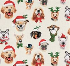 Christmas Dogs Selfies Hunde Patchwork Stoffe Tiere Baumwollstoffe Weihnachten