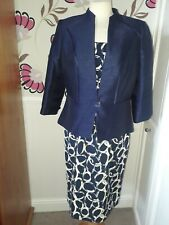 JACQUES VERT NAVY BLUE & YELLOW DRESS AND JACKET OUTFIT SIZE 12 - PERFECT