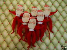 Primitive Vintage Style Christmas Santa Ornaments Chenille Feather Tree