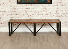 Urban Chic Reclaimed Wood Dining Bench Large 3 Seater Steel Frame