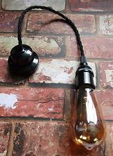 Restored Black Pendant Set - Bakelite Ceiling Rose & E27 Lamp Holder, Free Bulb