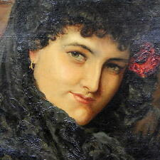 19TH CENTURY MUSEUM QUALITY OIL ON CANVAS FLAMENCO DANCER LADY PORTRAIT PAINTING
