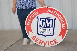 """Large GM General Motors Chevrolet Service Gas Oil 30"""" Porcelain Metal Sign"""