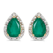 10k Yellow Gold Pear Emerald And Diamond Earrings