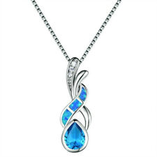 Opal Aquamarine Engagement Necklace Pendant Silver Plated Created lake blue Fire