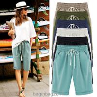 Women Knee Length Pants Summer Elastic Waist Lace-Up Short Pants Plus Size