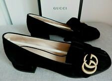 SUPERB GUCCI MARMONT BLACK SUEDE FRINGED LOAFERS SHOES Size 35 UK 2 BOXED