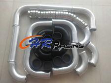 "3"" 76mm aluminum universal Intercooler Turbo Piping pipe & Black hose & Clamps"