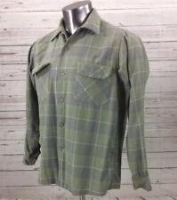 Vintage PENDLETON Green 100% Wool Board Shirt Medium Plaid loop collar flannel