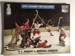 1972 MONTREAL Canadians NEW YORK RANGERS Program STANLEY CUP PLAYOFFS Gilbert