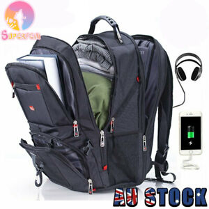 "Swiss Multifunctional Waterproof 17"" Laptop Backpack USB Charge Port Schoolbag"
