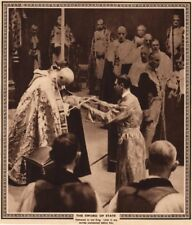 CORONATION 1937. The sword of state delivered to King George VI 1937 old print