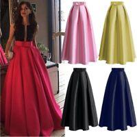 Bow Retro A line Women Satin Big Swing Long Skirt Muslim Maxi Casual Skirts Saia