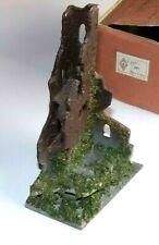Faller Castle Ruins HO Nr. 291 cardboard glue saw-dust greens Germany 1950's BOX