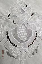 Antique Italian linen padded embroidery & apenzell tablecloth~Heirloom ~Sale!