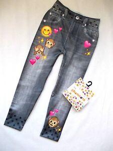 Jeans-Optik Kinder Mädchen Leggings Smiley Affe Herz Spass 92 98 104 110 116 122