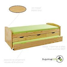 Lit banquette multi-rangement gigogne canapé bois massif naturel 90x200 cm