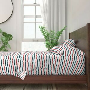 Nautical Stripe Scalloped Line Red 100% Cotton Sateen Sheet Set by Roostery