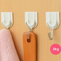 6x Hold 2KG Strong Adhesive Hook Wall Door Sticky Hanger Kitchen Bathroom Good
