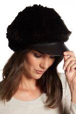 Surell Genuine Rabbit Fur Cabbie Hat Brown