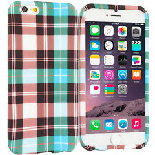 For Apple iPhone 6S PLUS TPU Design Silicone Soft Case Cover Blue Checker Plaid