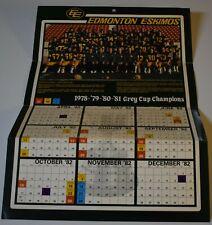 Original 1982 EDMONTON ESKIMOS CFL Team Photo Calendar POSTER 12 1/2 x 18 1/2