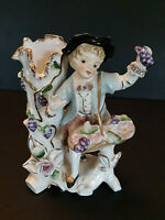 Vtg Goldmans Porcelain Figurine Vase Planter Boy Basket Grapes Gilded Victorian