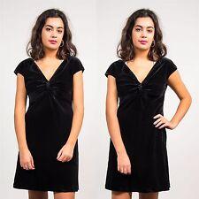 WOMENS VINTAGE BLACK VELVET SHORT MINI DRESS V-NECK KNOT FRONT GLAM GOING OUT 10