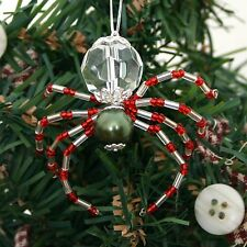 The Legend of the Christmas Spider Beaded Ornament  Holly Green