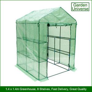 Greenhouse Garden Universe WalkIn PE Cover 8 Shelves 1.4m x 1.4m Roll Up Door