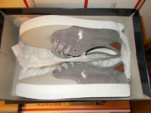 New Boys Size 5 Junior Polo Ralph Lauren Gray/White Luwes Canvas Sneakers Shoes