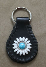Handcrafted Leather Key Ring with White and Turquoise Daisy