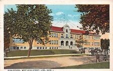 Ohio postcard Lima High School West High Street ca 1925