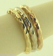 14K Gold Wedding Rings Stackabl Three Rings Hand Made