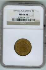 Rare NGC MS 62 RB 1864 2 cent piece with Strongly Repunched Date KF-L5-TPD