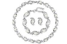 White Shell Pearl Adjustable Necklace Bracelet Stud Earrings Sets Bride Wedding