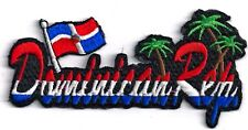 DOMINICAN REPUBLIC - FLAG/PALM TREE - IRON or SEW-ON PATCH