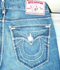HOT USA Men TRUE RELIGION @ RICKY GIANT BIG T STRAIGHT Jeans 32 x 34 (Fit 32x33)