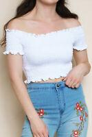 Shirred Bardot Off Shoulder Crop Top in White