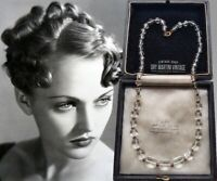 VINTAGE ART DECO CZECH CLEAR GLASS SQUARE BEADS NECKLACE SIGNED COLLECTOR BRIDAL