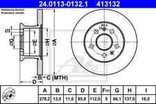 2x ATE Bremsscheibe Vorderachse(VA) 24.0113-0132.1 für VW TRANSPORTER II Bus