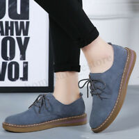 Womens Ladies Student Oxford Lace up Casual Brogue Round Toe Flats Suede