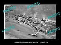 OLD LARGE HISTORIC PHOTO AERIAL VIEW OF RAINHAM FERRY LONDON ENGLAND c1940