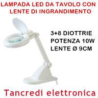 Lampada con Lente D'Ingrandimento 15 LED con base Lampada da Tavolo 3+8 diottrie