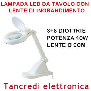 LENTE INGRANDIMENTO 3+8 DIOTTRIE PER LABORATORIO DA TAVOLO CON LAMPADA LED